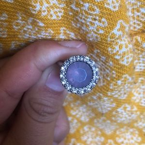 Silver, lavender with diamond ring